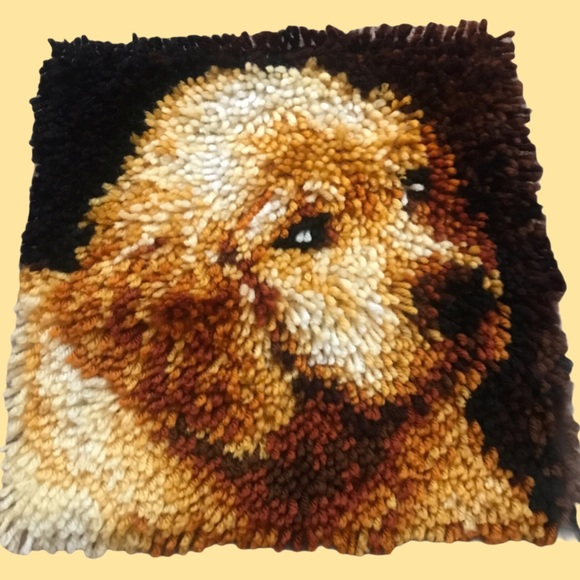 Completed latch hook square Golden Lab puppy dog